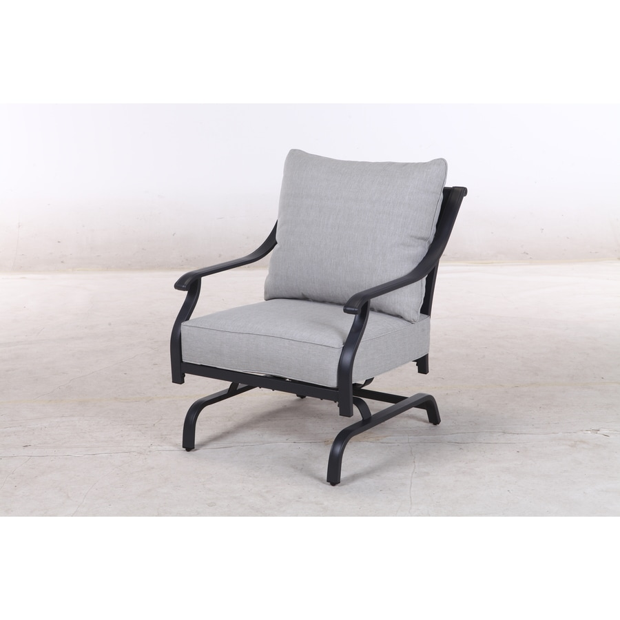 style selections elliot creek set of 2 new slate metal frame conversation chair s with gray olefin cushioned seat