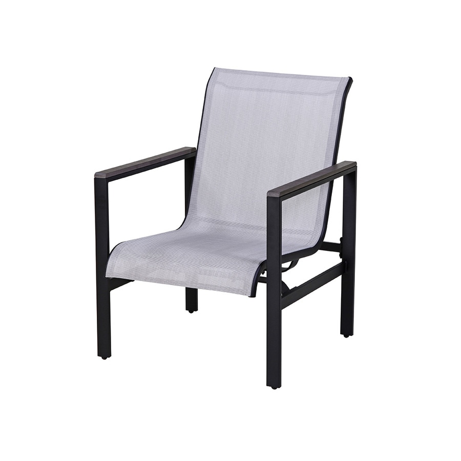 style selections easton park set of 4 texture black metal frame spring motion conversation chair s with gray sling seat