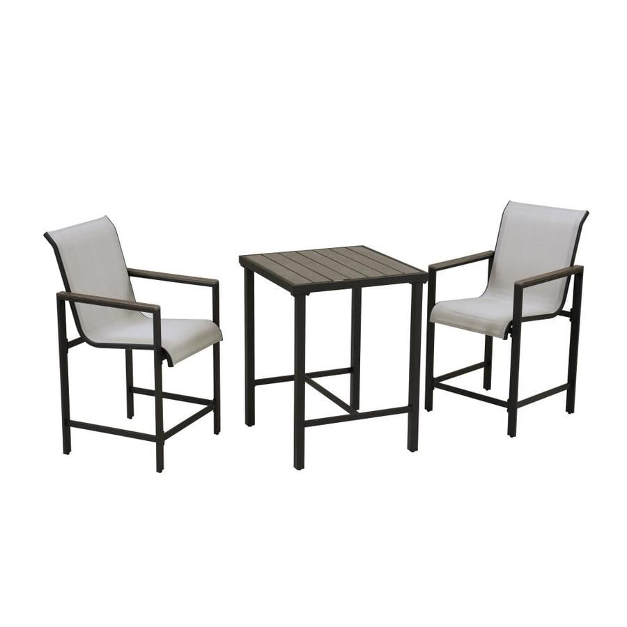 style selections easton park black frame bar height patio set with gray bar height