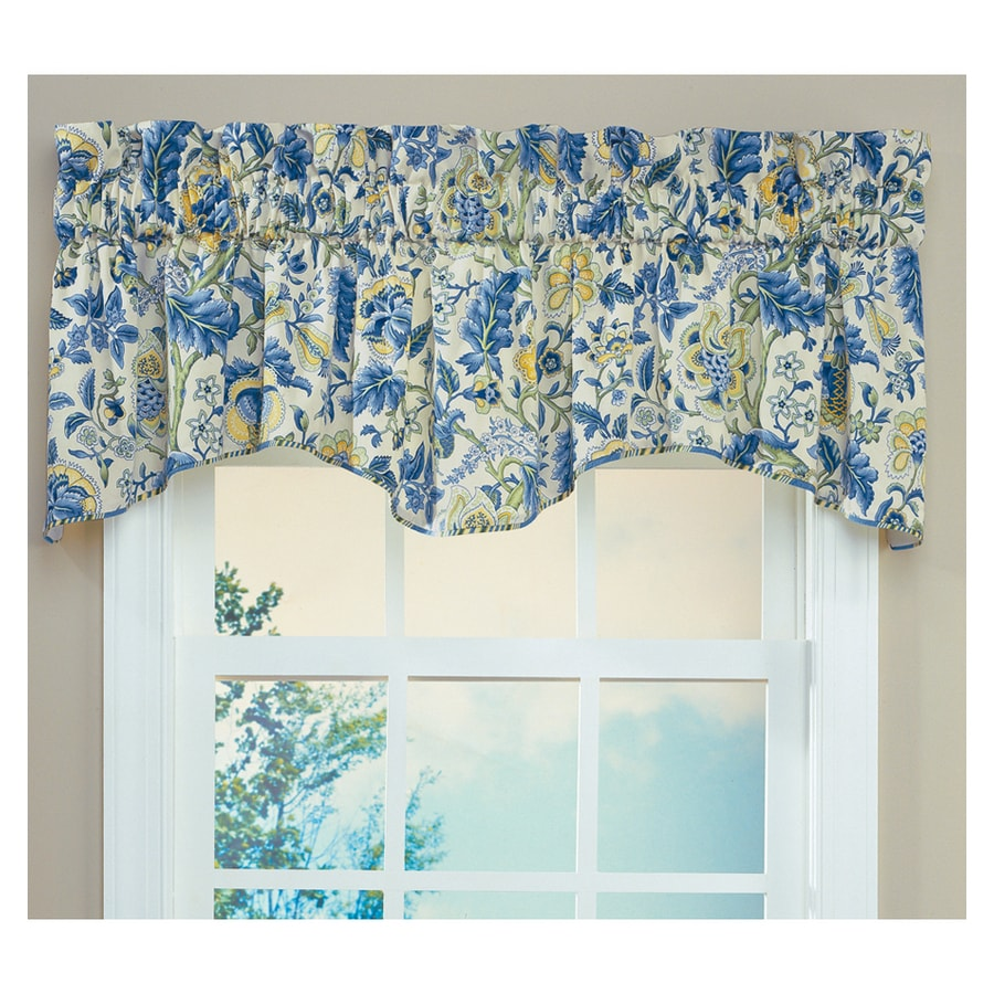 blue kitchen valance chairs on casters waverly home classics 18 in porcelain cotton rod pocket at