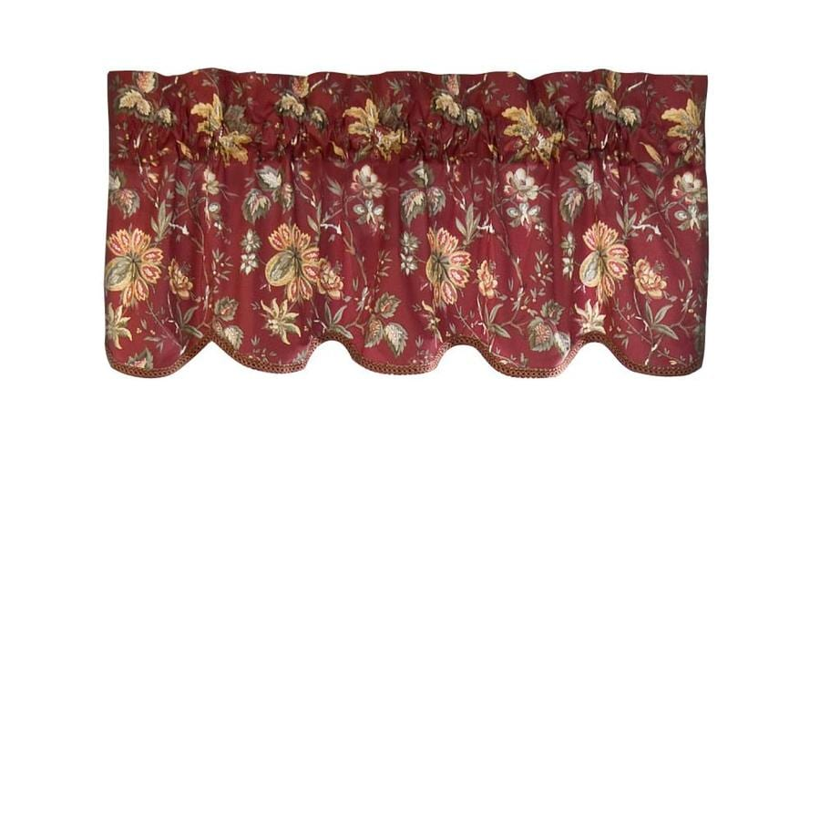 red valances for kitchen windows danze faucets shop waverly home classics 16-in crimson cotton rod pocket ...