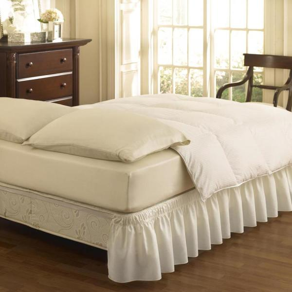 Easy Fit White Twin 15-in Bed Skirt