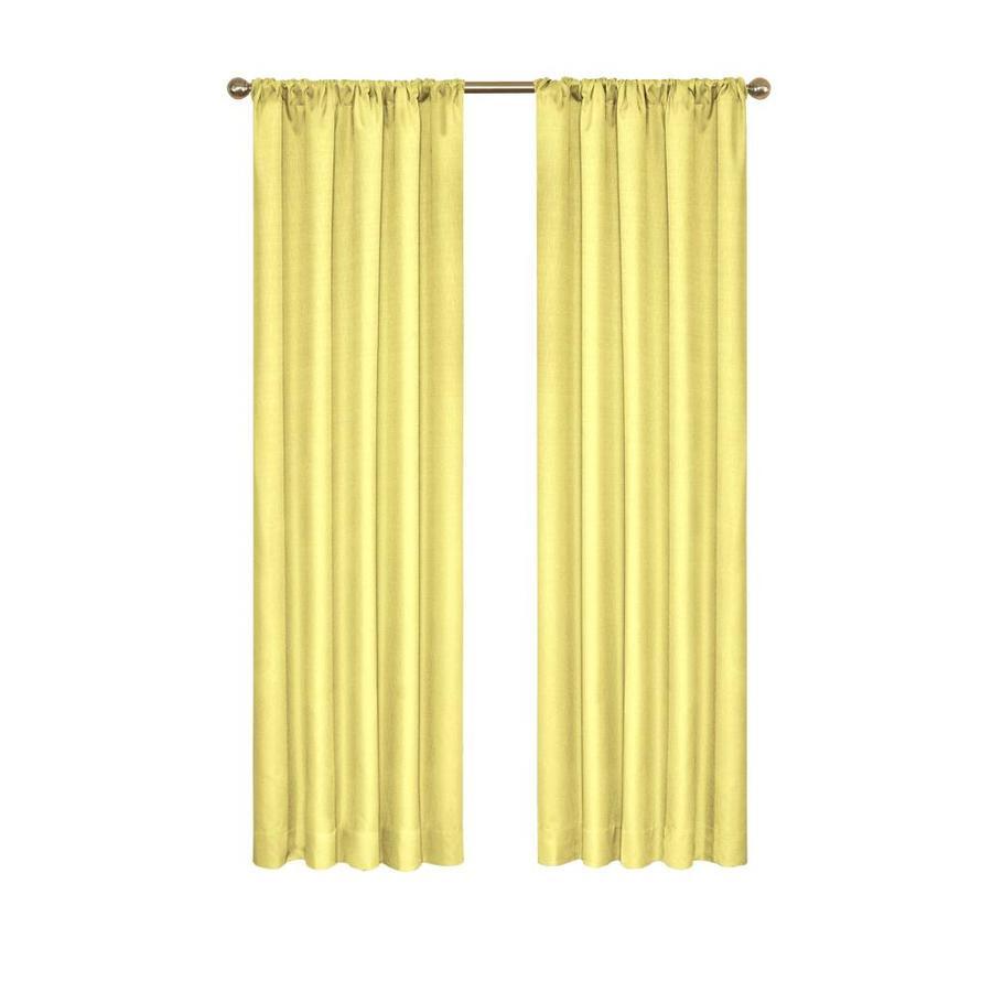 eclipse 84 in lemon polyester blackout rod pocket single curtain panel