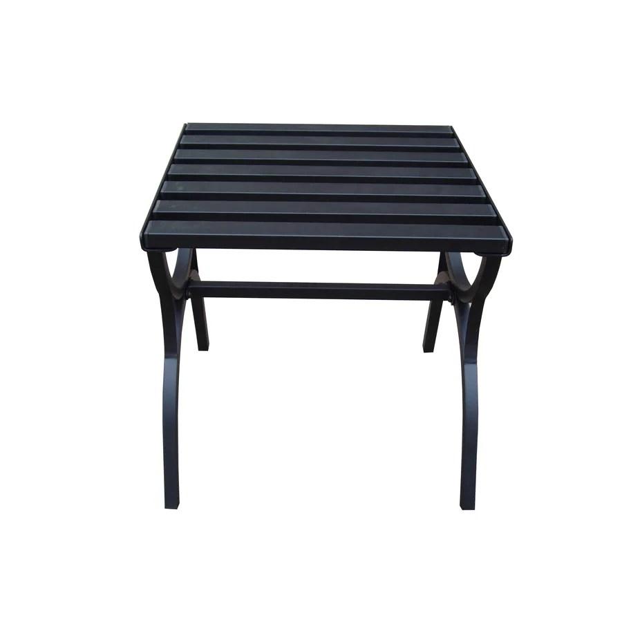 garden treasures 18 in x 18 in black steel square patio end table