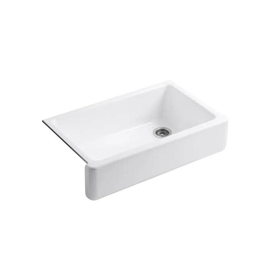 lowes white kitchen sink outdoor hood kohler whitehaven 35 68 in x 21 56 single basin standard undermount apron front farmhouse residential