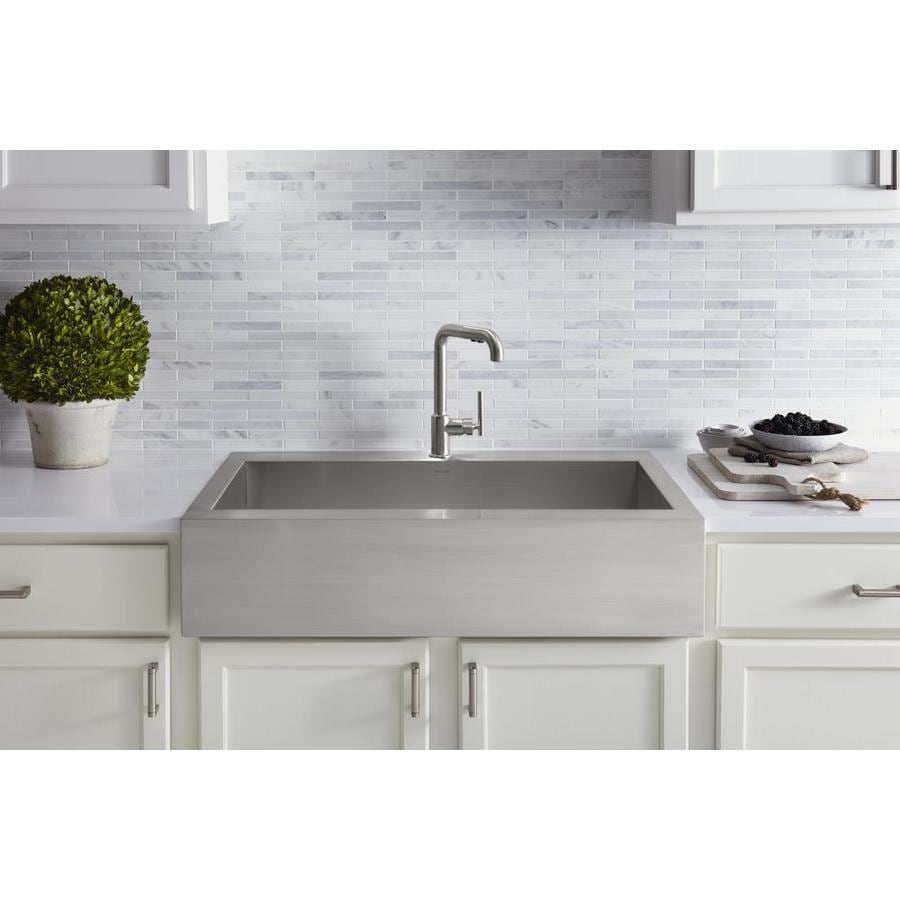 kohler vault farmhouse apron front 35 75 in x 24 31 in stainless steel single bowl 1 hole kitchen sink