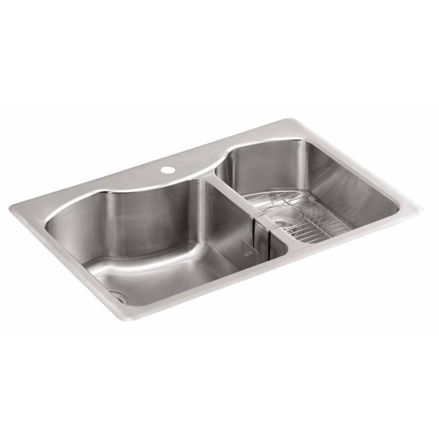 lowes kitchen sink base cabinet eat in table shop kohler 22-in x 33-in double-basin stainless steel ...