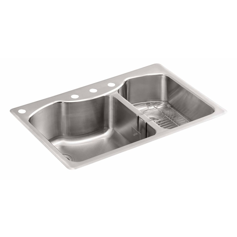 lowes undermount kitchen sink mosaic kohler 33-in x 22-in stainless steel double-basin drop-in ...