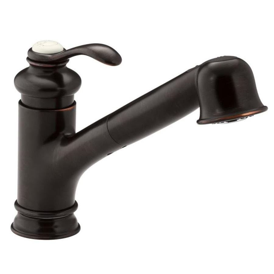 kohler fairfax oil rubbed bronze 1 handle deck mount pull out residential kitchen faucet