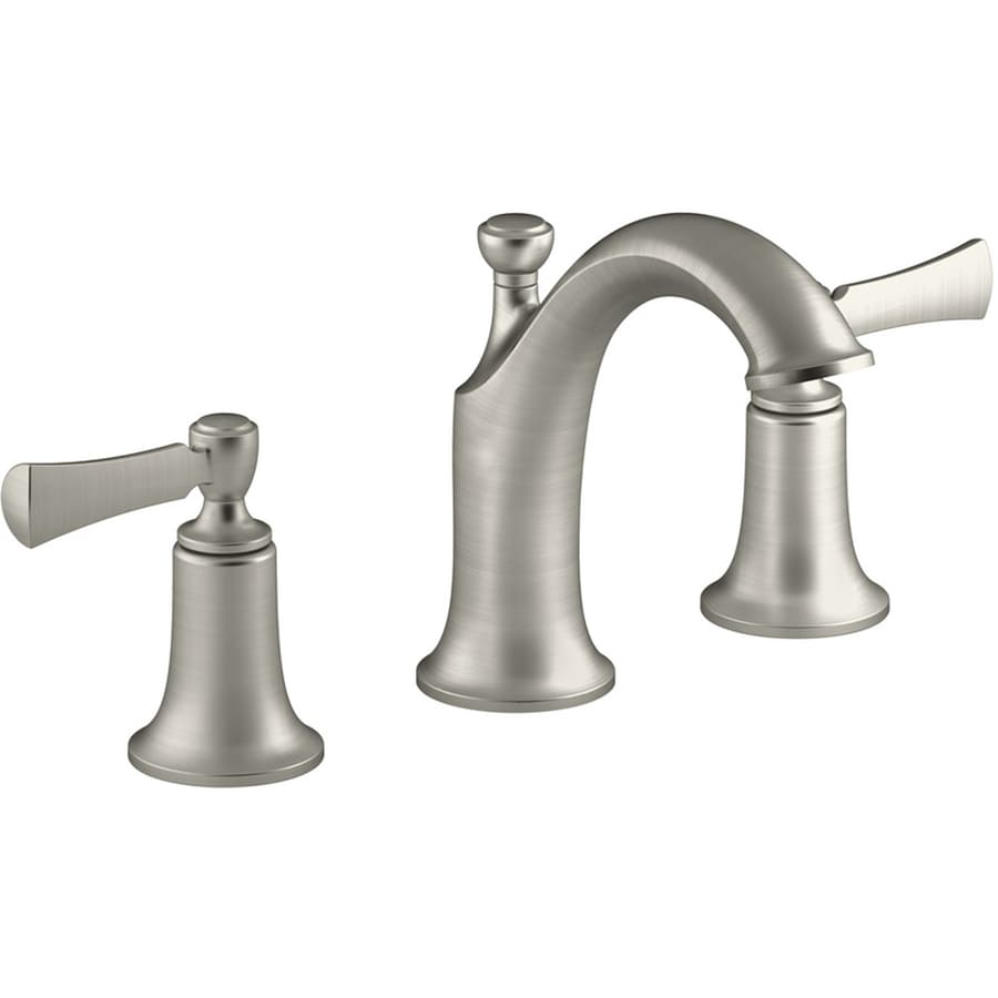 Shop KOHLER Elliston Vibrant Brushed Nickel 2Handle Widespread Bathroom Faucet Drain Included