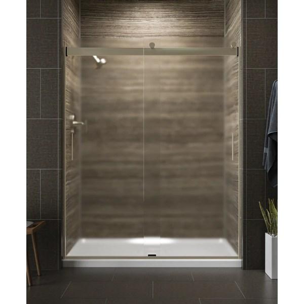 Kohler Levity 56.625-in 59.625-in Frameless Anodized Brushed Bronze Bypass Sliding Shower
