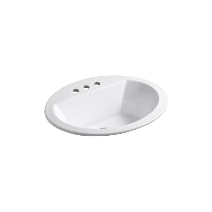 KOHLER Bryant White DropIn Oval Bathroom Sink with Overflow Drain at Lowescom
