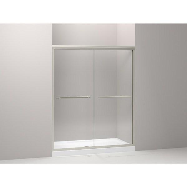 Kohler Gradient 59.625-in Frameless Matte Nickel Bypass Sliding Shower Door