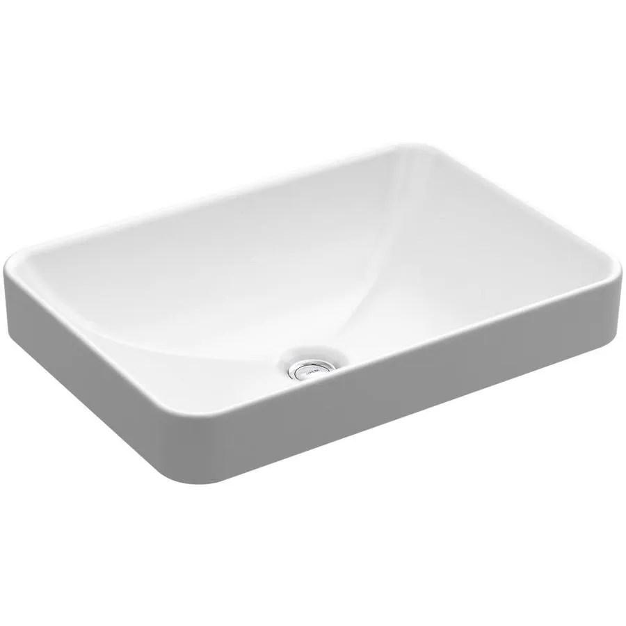 kohler vox white vessel rectangular bathroom sink with overflow drain 22 625 in x 16 125 in lowes com