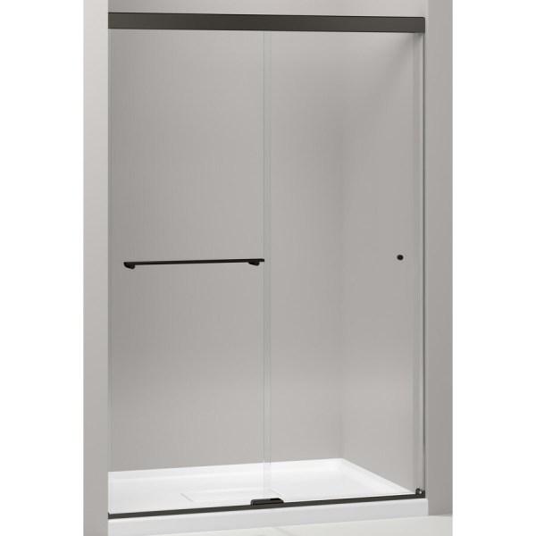 Kohler Revel 44.625-in 47.625-in Frameless Bypass Sliding Anodized Dark Bronze Shower Door
