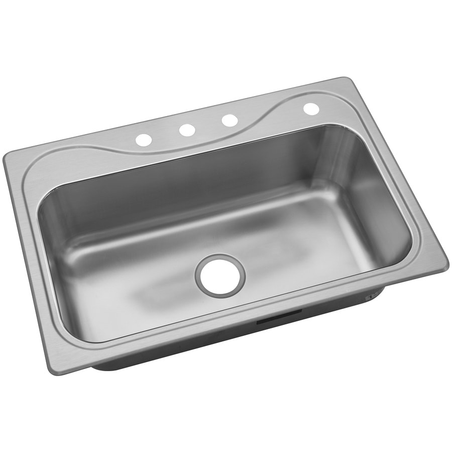 sterling southhaven drop in 22 in x 33 in single bowl 4 hole kitchen sink