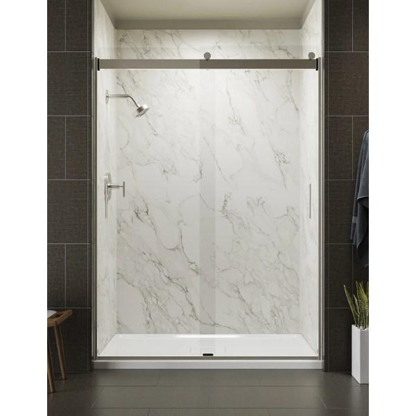 Kohler Levity 56.625-in 59.625-in Frameless Brushed Nickel Bypass Sliding Shower Door