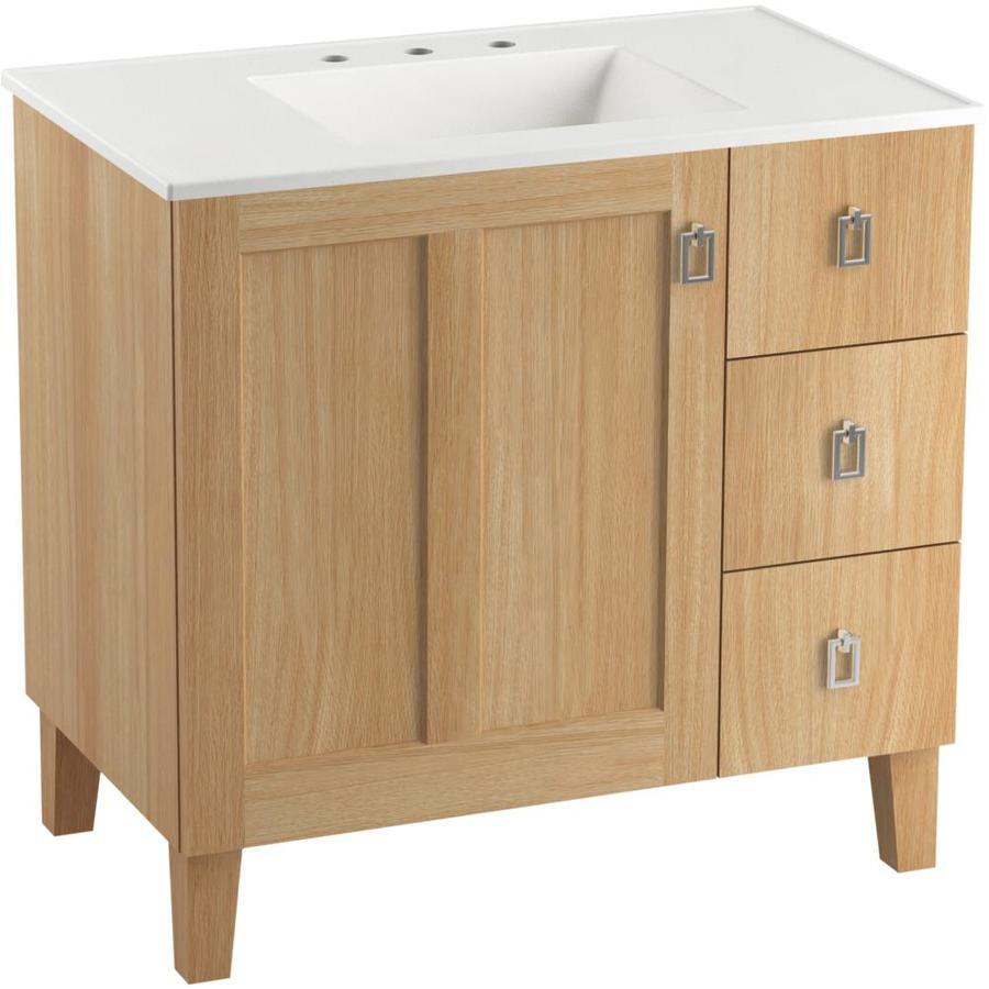 Kohler Poplin 37 In Khaki Oak Single Sink Bathroom Vanity With White Wood Top In The Bathroom Vanities With Tops Department At Lowes Com