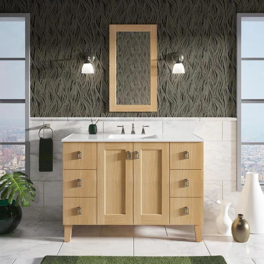https www lowes com pd kohler poplin 49 in khaki oak single sink bathroom vanity with khaki oak wood top 1000520487