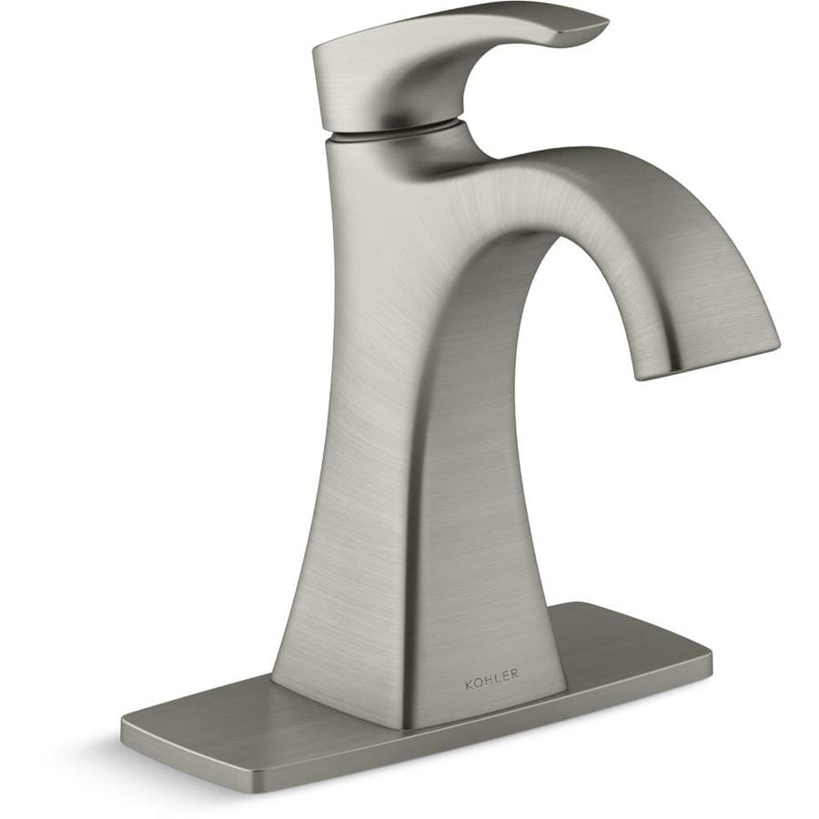 kohler maxton brushed nickel 1 handle 4 in centerset watersense bathroom sink faucet with drain and deck plate