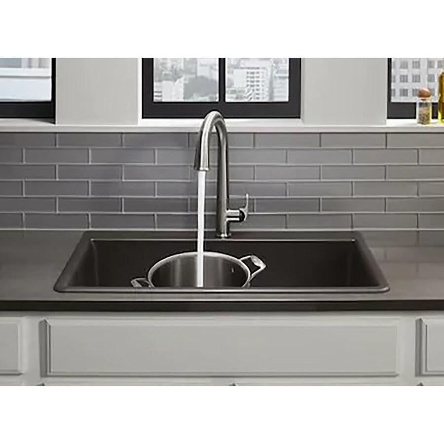 kohler neoroc dual mount 22 in x 33 in matte black single bowl 2 hole kitchen sink all in one kit lowes com