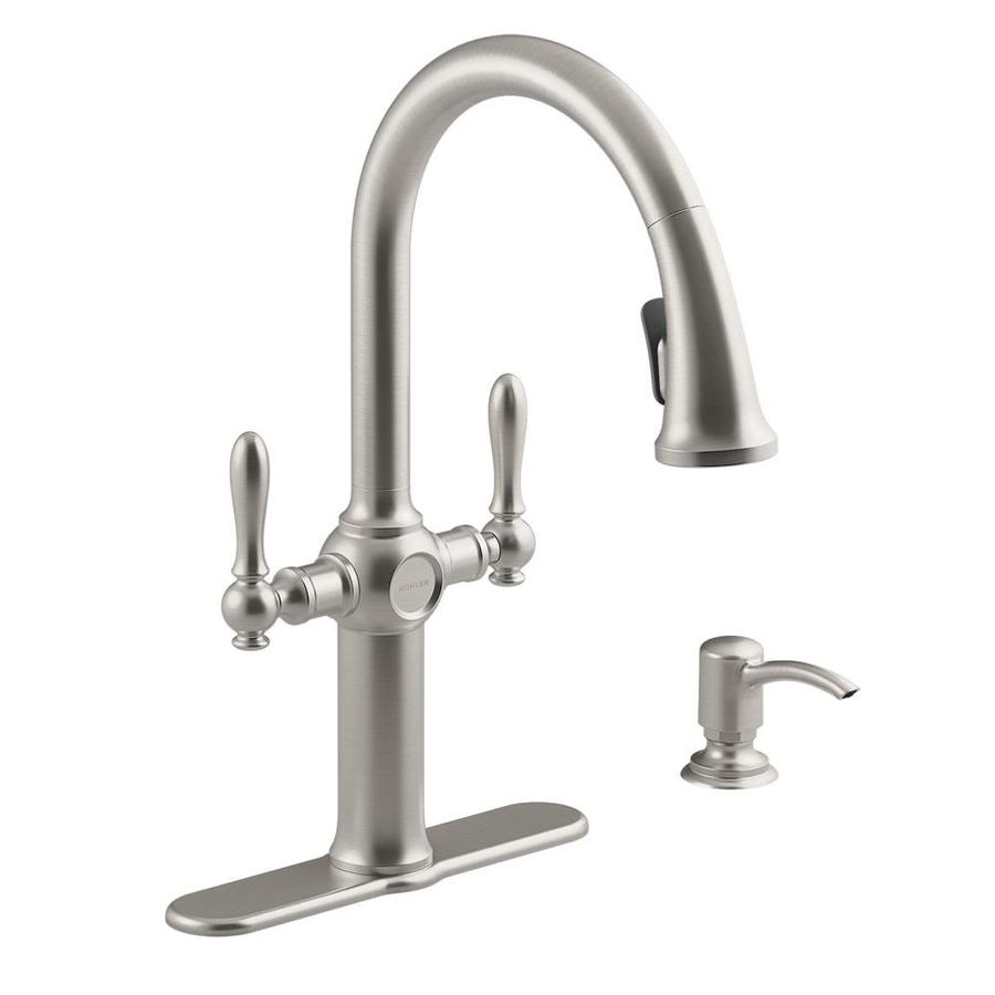 kohler kitchen faucet cool faucets neuhaus vibrant stainless 2 handle pull down