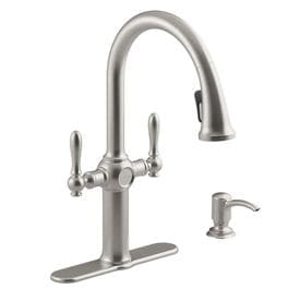 two handle kitchen faucet blue cabinets for sale faucets at lowes com kohler neuhaus vibrant stainless 2 pull down