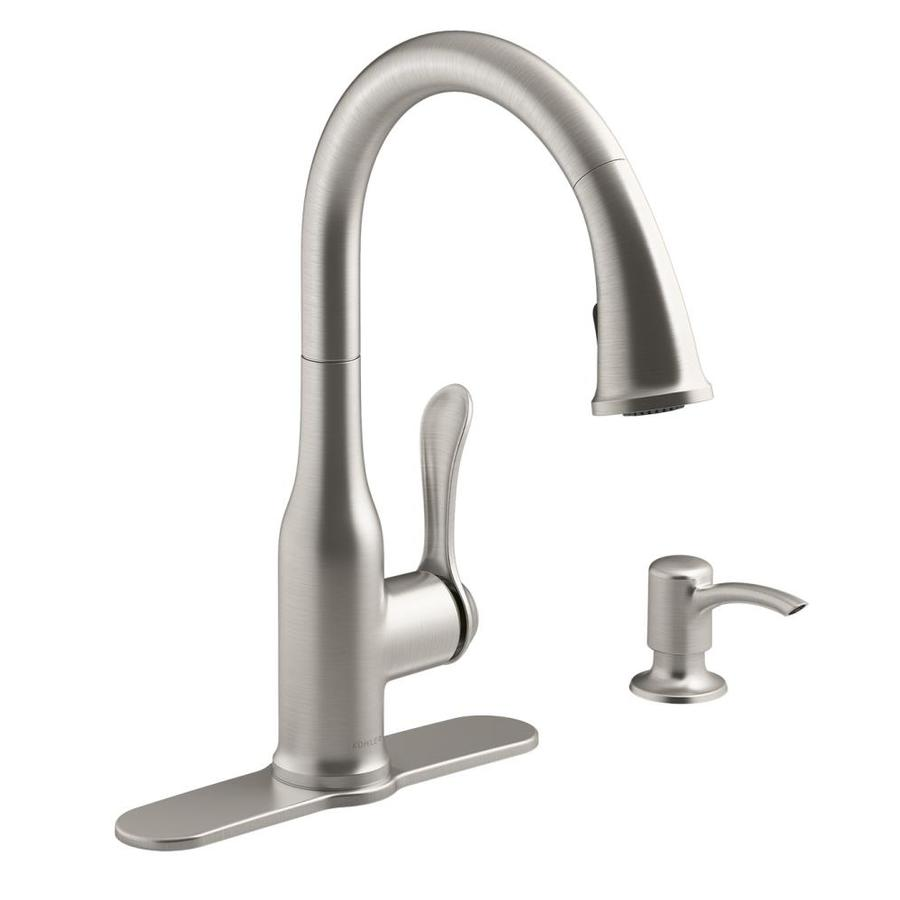 kohler kitchen faucet cabinets motif vibrant stainless 1 handle pull down at