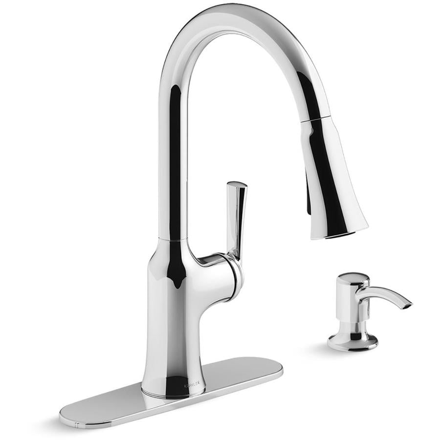 kohler brynn polished chrome 1 handle deck mount pull down handle kitchen faucet deck plate included