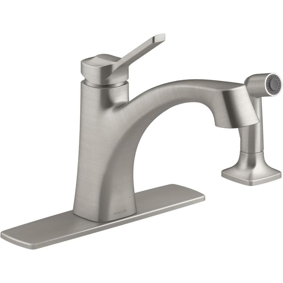 kohler maxton vibrant stainless 1 handle deck mount low arc handle kitchen faucet deck plate included