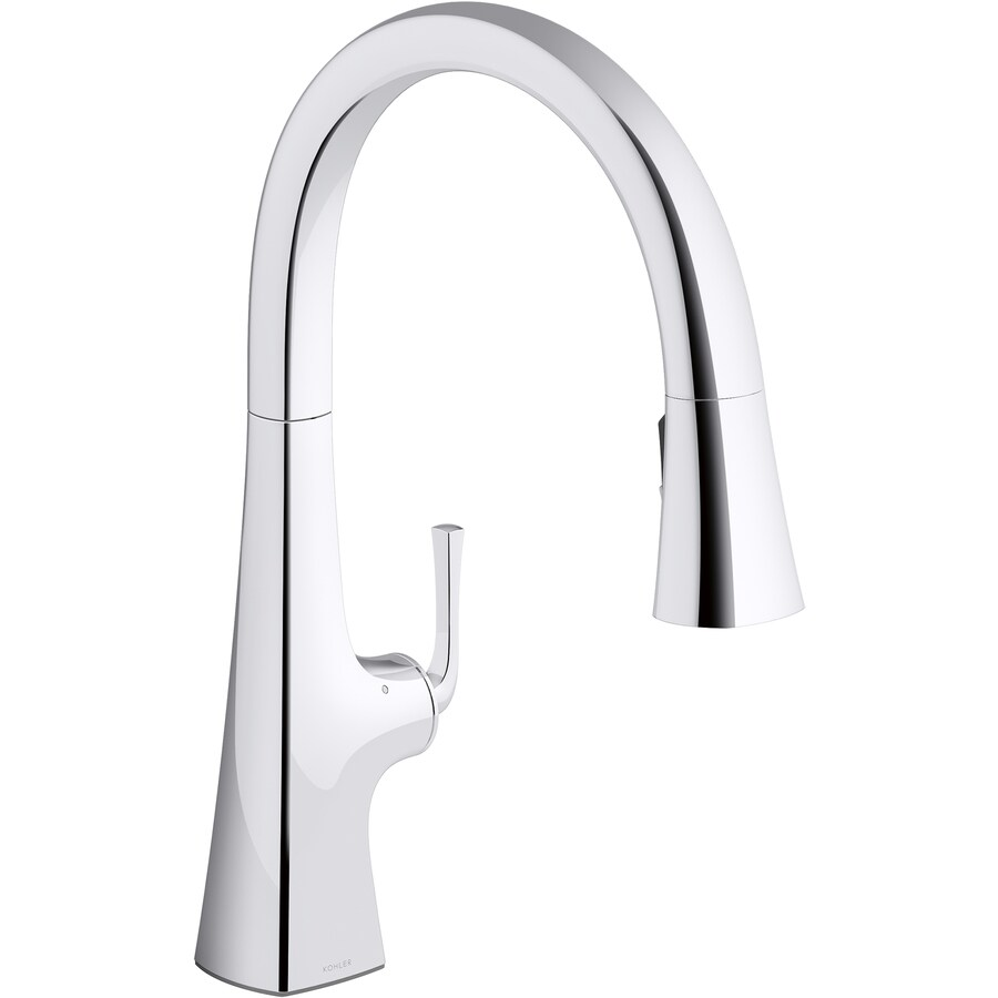 polished touchless kitchen faucets at