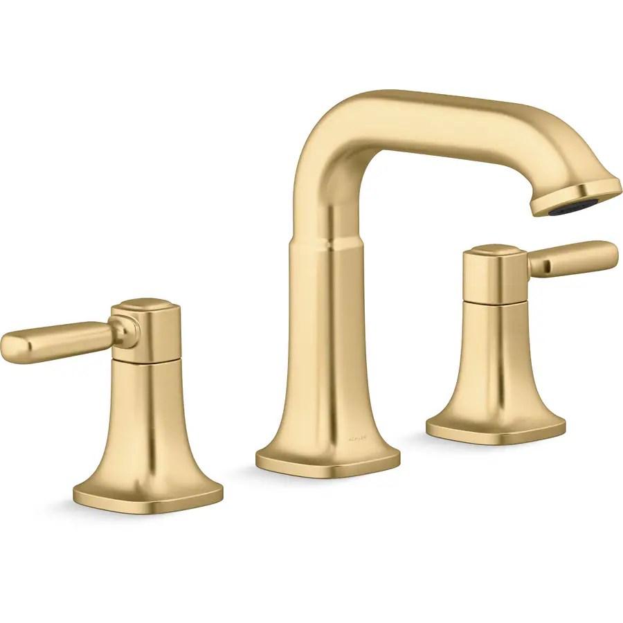 kohler ealing vibrant moderne brushed brass 2 handle widespread watersense bathroom sink faucet with drain