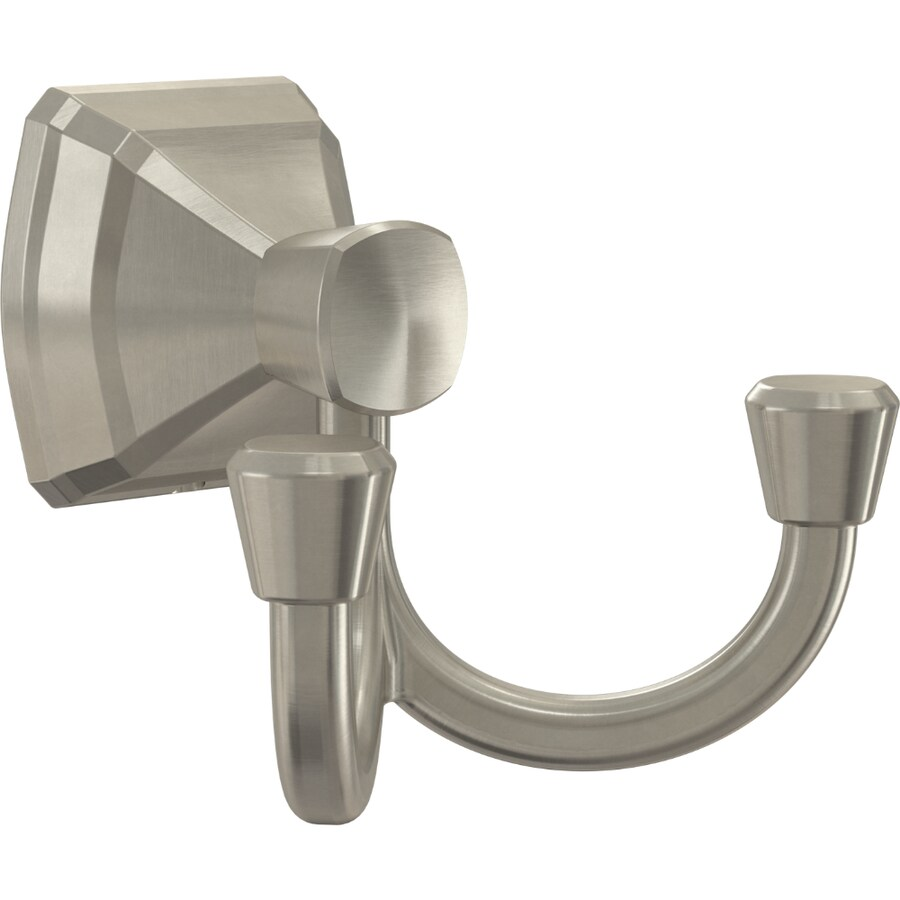 Delta Flynn Double Hook Brushed Nickel Towel Hook In The Towel Hooks Department At Lowes Com