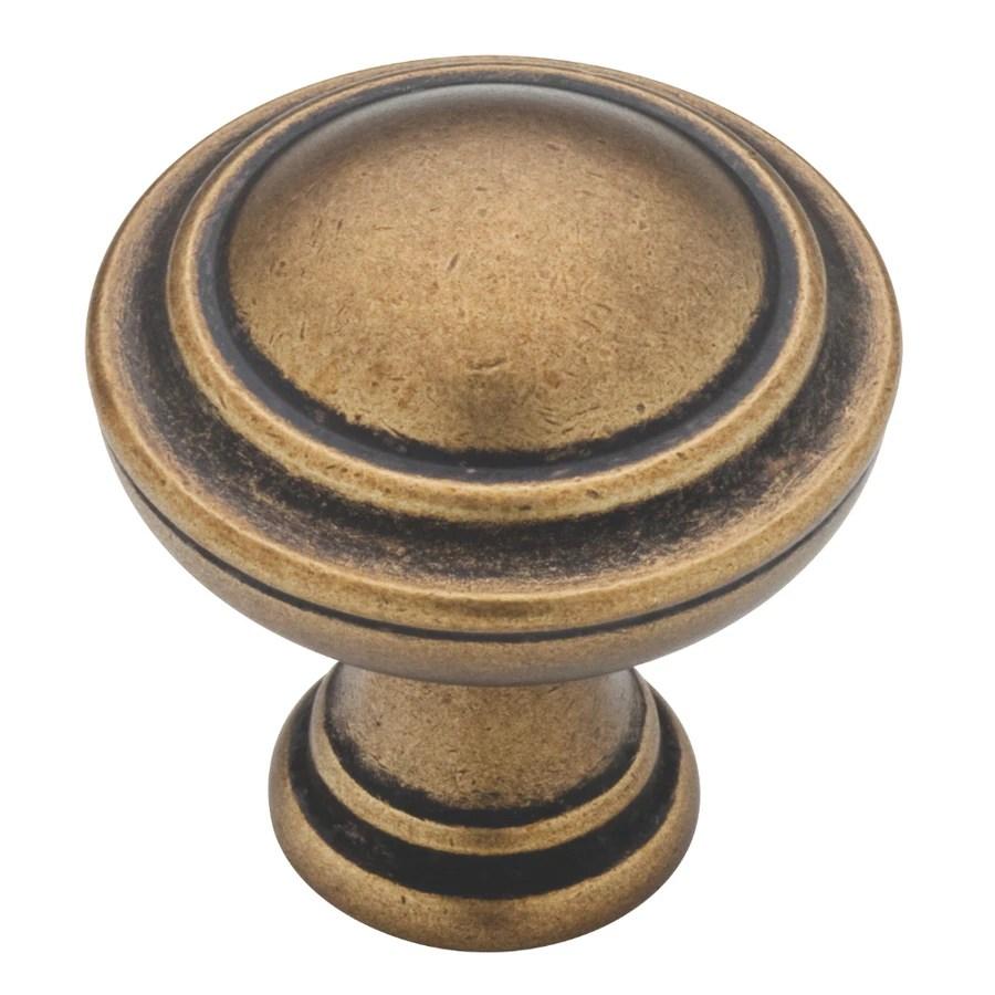 Shop Brainerd Tumbled Antique Brass Round Cabinet Knob At