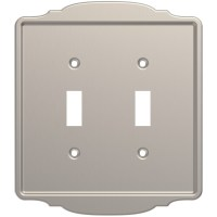 Shop Brainerd 2-Gang Satin Nickel Double Toggle Wall Plate ...