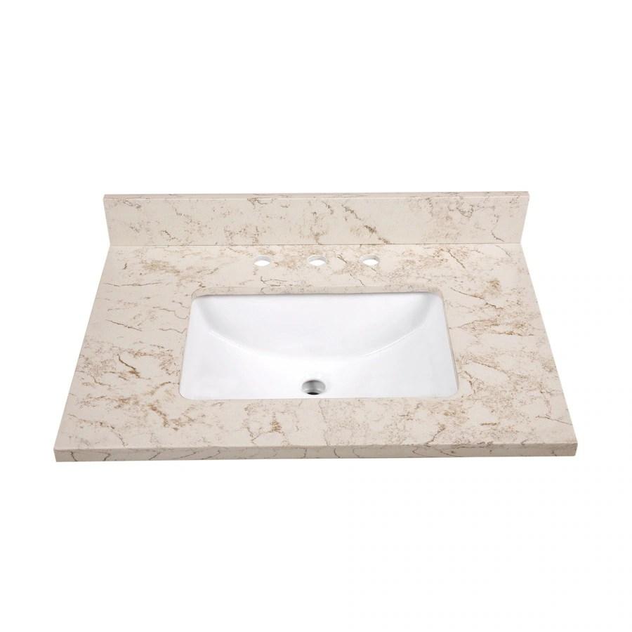 Shop allen  roth Marbled Beige Quartz Undermount Single Sink Bathroom Vanity Top Common 31in
