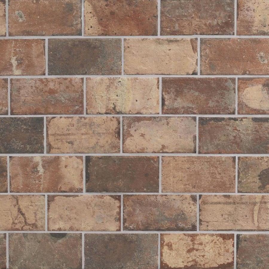 style selections broadmeadow brick broadmeadow brick 4 in x 8 in glazed porcelain brick look floor and wall tile