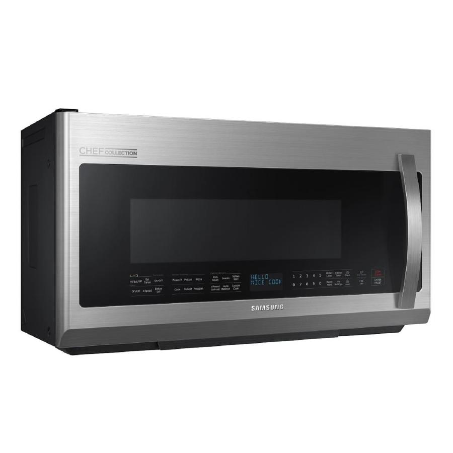 samsung chef collection 2 1 cu ft over the range microwave with sensor cooking controls and speed cook stainless steel common 30 in actual 29 8125 in in the over the range microwaves department at lowes com