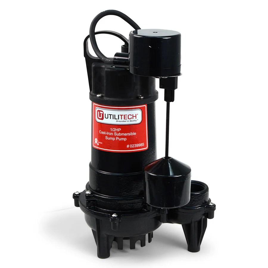 medium resolution of utilitech 0 5 hp cast iron submersible sump pump