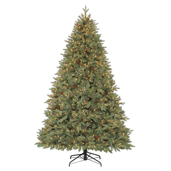 Holiday Living 7.5-ft Pre-lit Hayden Pine Artificial Christmas Tree With White Clear