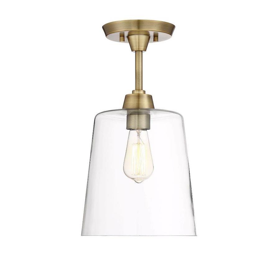 10 in natural brass transitional incandescent semi flush mount light