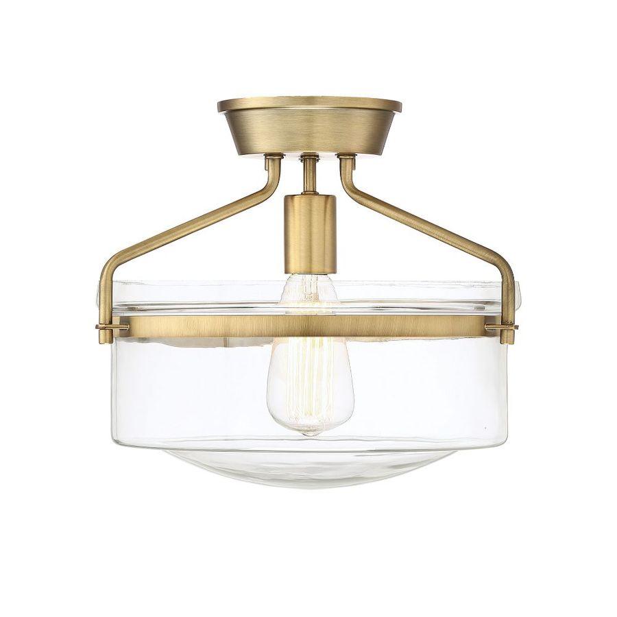 13 in natural brass transitional incandescent semi flush mount light