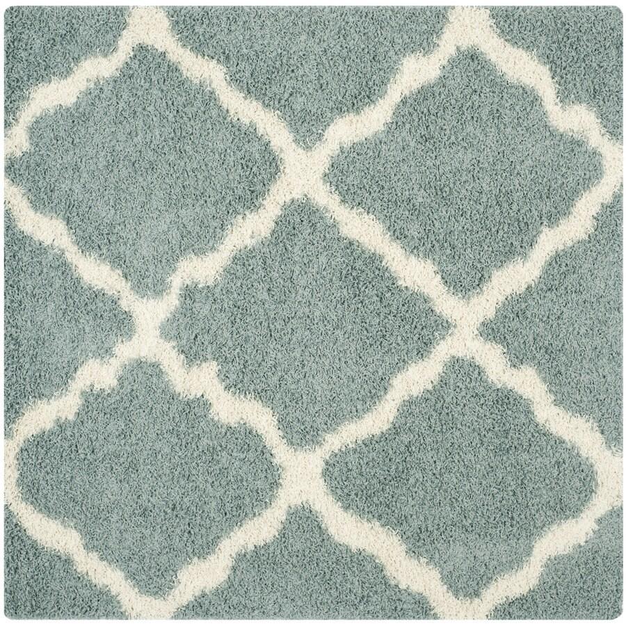 safavieh dallas shag 8 x 8 seafoam ivory square indoor trellis moroccan area rug in the rugs department at lowes com