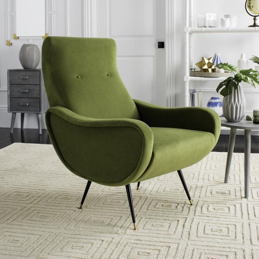mid century accent chair x rocker review safavieh elicia midcentury hunter green at lowes com
