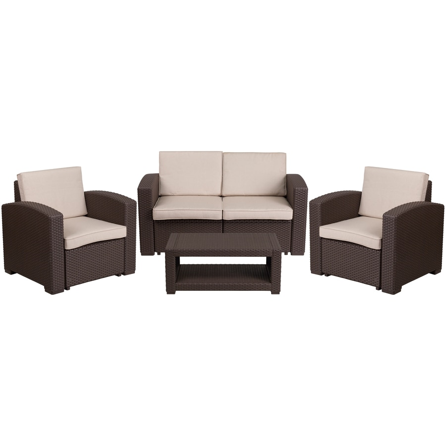 flash furniture 4 piece resin frame patio conversation set with cushion s included in the patio conversation sets department at lowes com