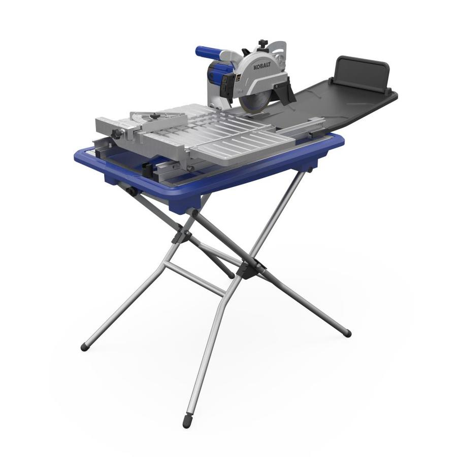 kobalt 7 in 10 amp wet sliding table tile saw with stand lowes com