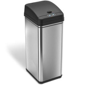 13 gallon kitchen trash can home depot cabinets cans at lowes com itouchless brushed silver metal touchless with lid
