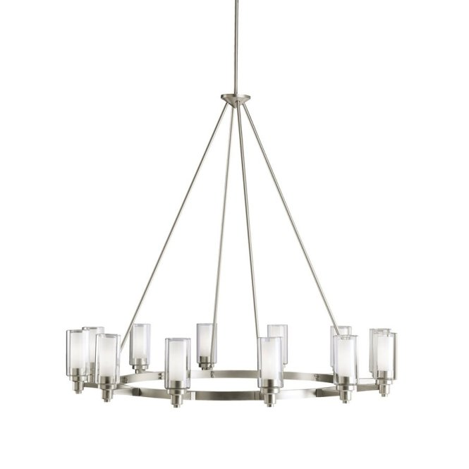 Kichler Circolo 44 5 In 12 Light Brushed Nickel Hardwired Clear Glass Shaded Chandelier