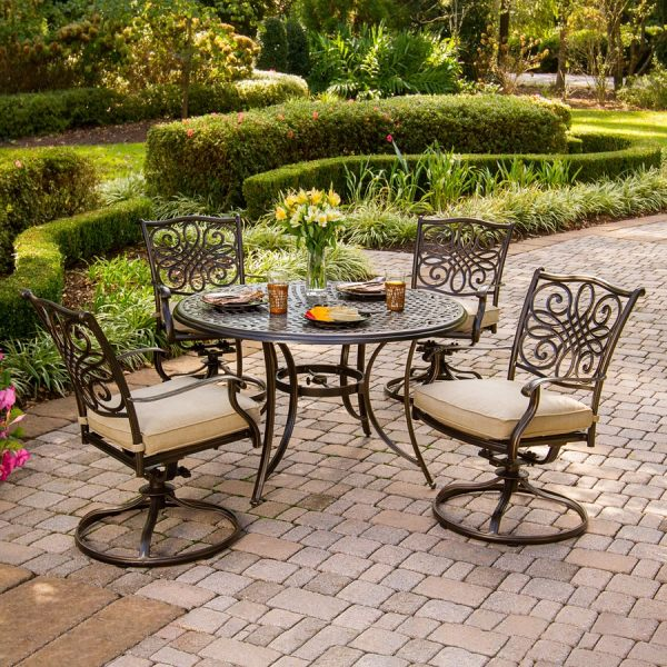 patio furniture sets Hanover Outdoor Furniture Traditions 5-Piece Bronze Metal