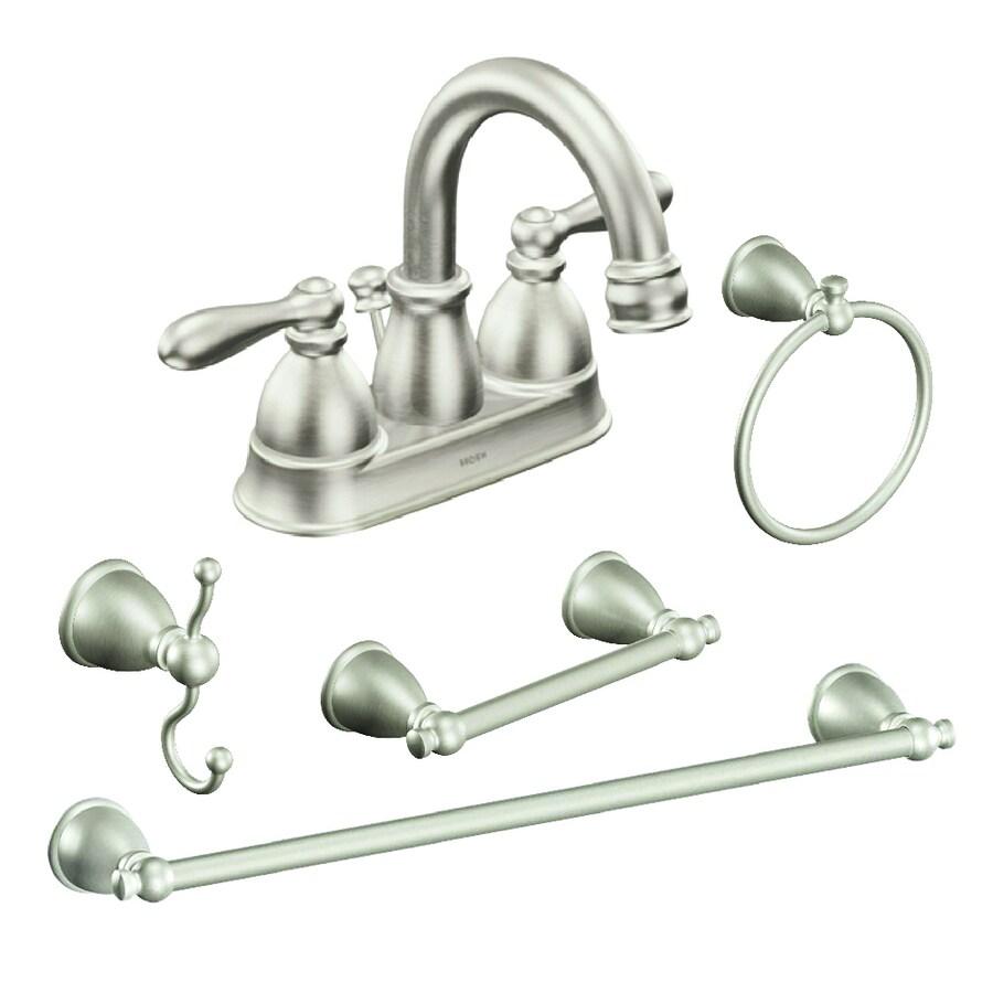 moen caldwell brushed nickel bathroom hardware set